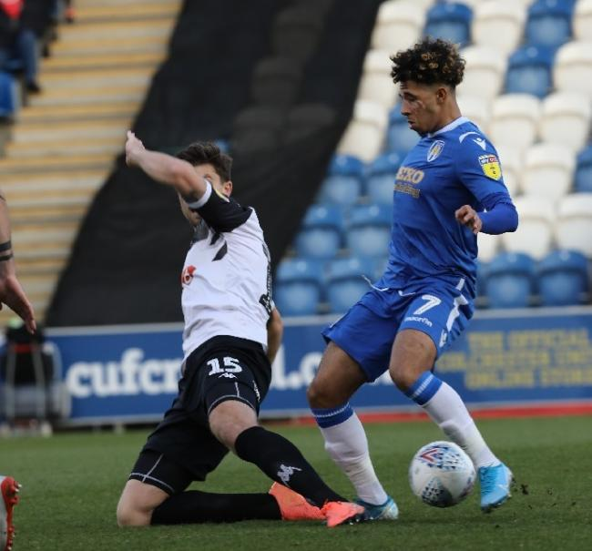 Wing play - Colchester United's Courtney Senior in possession during his side's 1-0 win over Salford City Picture: STEVE BRADING