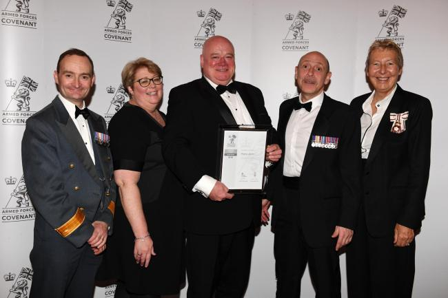 Award - From left to right: Air Commodore Paul O'Neill, Ringway Jacobs' Anne Whipps, Mike O'Neill, Steve Ward and The Lord-Lieutenant of Cambridgeshire, Julie Spence OBE (Photo Jane Russell)