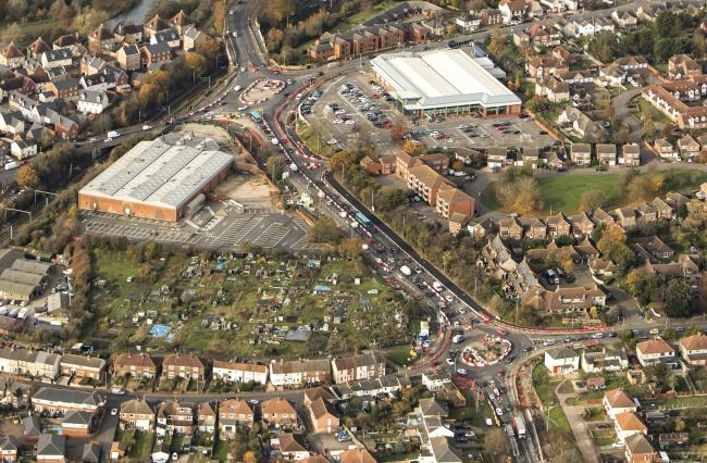 Nov 2019 aerial photography..Roadworks St Andrews/Ipswich Road.