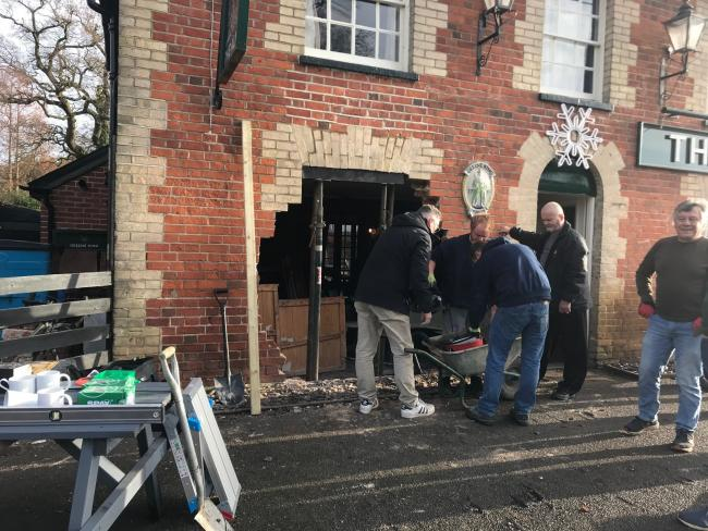 Community-spirited villagers come to rescue after car crashes into pub