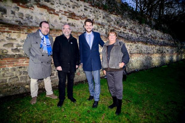 Gazette: Darius Laws, Tim Young, Mark Cory and Lyn Barton during a test run of the wall lighting