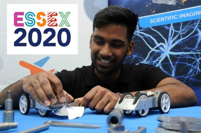 Driving ambition - Hermanth Alapati with a car he and other apprentices made which was on show at the Launch of Essex 2020