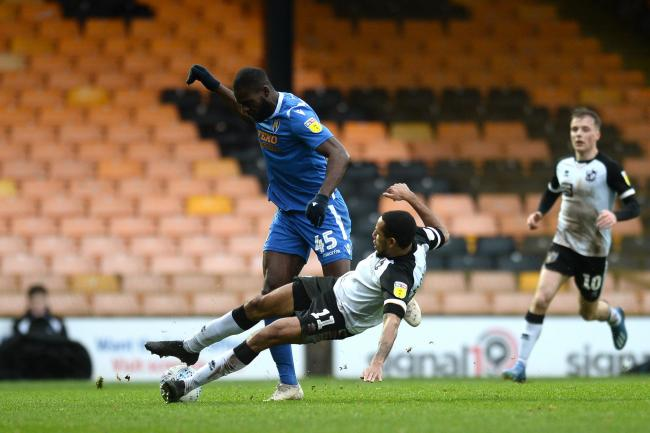 Frank Nouble of Colchester United does battle with Cristian Montaño of Port Vale - Port Vale vs. Colchester United - Sky Bet League Two - Vale Park, Burslem - 15/02/2020 - Photo by: Richard Blaxall