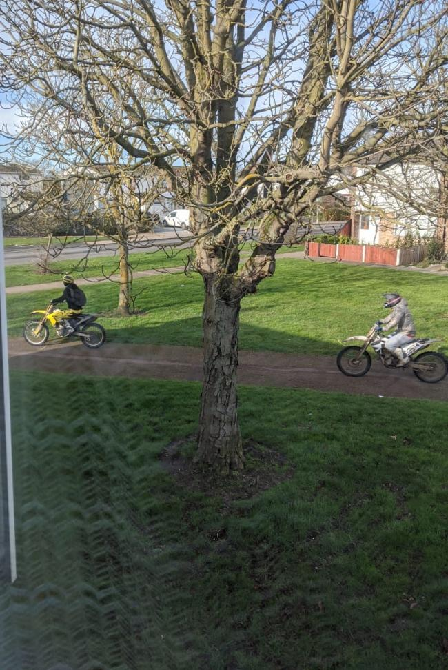 Footpaths - bikers have been seen riding on footpaths and green areas across Greenstead in Colchester