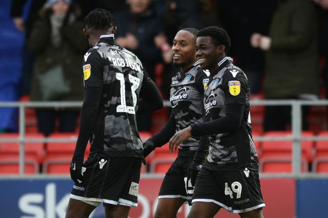 Callum Harriott of Colchester United celebrates scoring his sides second goal to make the scoreline 0-2 - Salford City vs. Colchester United - Sky Bet League Two - The Peninsula Stadium, Salford - 22/02/2020 - Photo by: Richard Blaxall