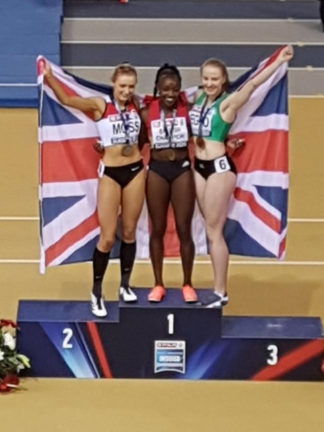 Success - Colchester Harriers' Becky Jeggo (right) with her bronze medal at the British Indoor Championships
