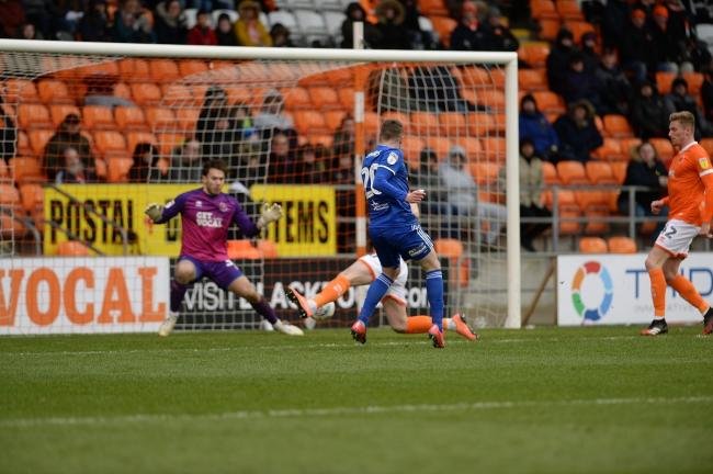 Freddie Sears scores his equaliser at Blackpool. Picture Pagepix Ltd