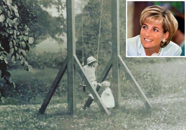 Memories - Lady Anne and her brother, John Spencer, playing on a swing on their estate in 1920 Picture: Charles Spencer's Instagram. Inset Princess Diana