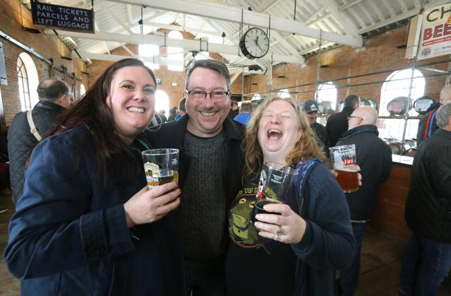 Beer Festival at Chapel Railway..Kristin Hodges, Gregg Wood andNicky Wood.