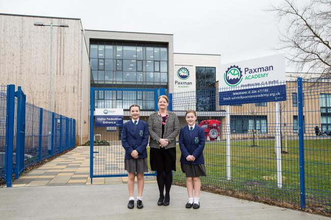 Peition - Tillie Duguid, 11, and Lily Brotherton, 12, with headteacher Carol Moffat   PICTURE: Vikki Brotherton