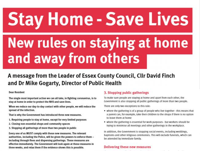 Letter to Essex residents: Stay Home - Save Lives