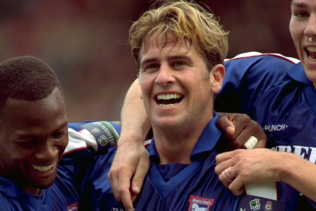 Dream debut - Gary Croft celebrates with David Johnson and Matt Holland after scoring on his debut against Manchester City Picture: ITFC