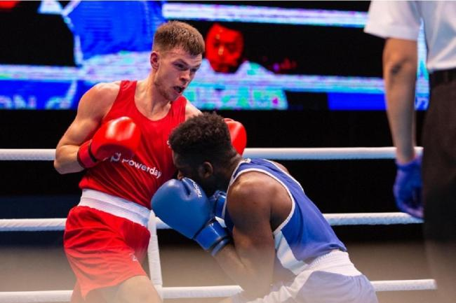 Packing a punch - Colchester's Lewis Richardson in action against Victor Yoka in his Olympic qualifier Picture: GB Boxing