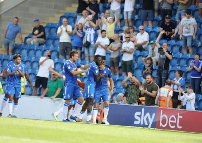 Team ethic - Colchester United's players celebrate scoring against Crawley Town Picture: STEVE BRADING