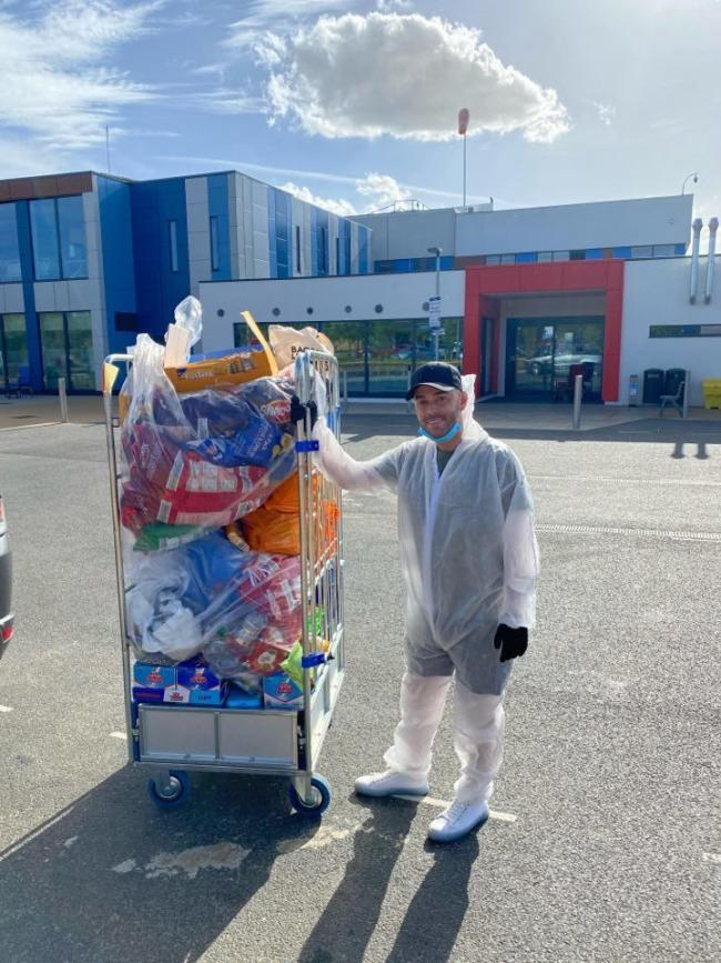 Paul Godfrey makes care package deliveries to Colchester Hospital