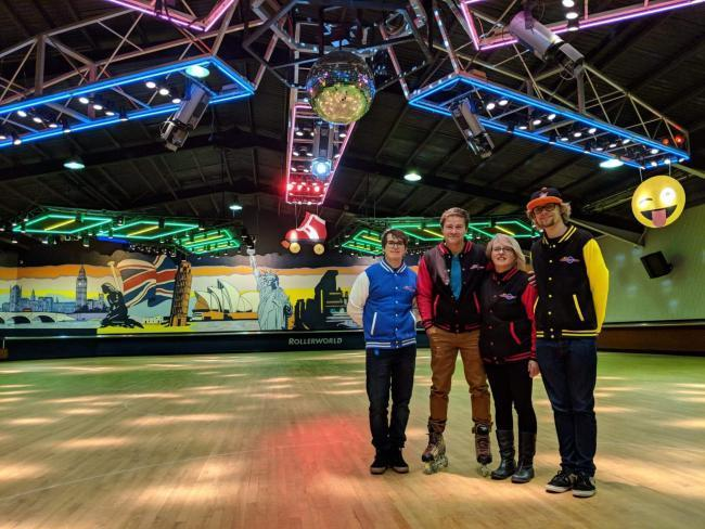 The Khan family at Rollerworld in 2018