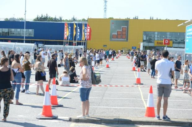 Gazette: Customers queued two metres apart to get inside Ikea in Lakeside, Essex. Picture: Nick Ansell/PA Wire