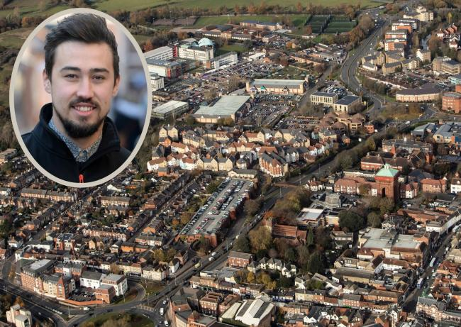Reopening - Colchester town centre from above and (inset) Bid manager Sam Good