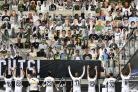 Respect - Borussia Moenchengladbach players celebrate in front of the cardboard cut-outs Picture: AP Photo/Martin Meissner, Pool