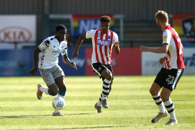 Flair - Kwame Poku in action during Colchester United's League Two play-off semi-final second leg against Exeter City Picture: RICHARD BLAXALL