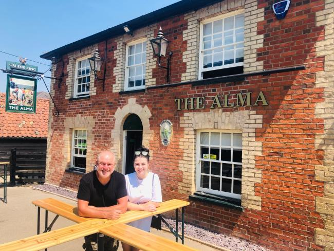 Pub - David Brady with daughter Molly outside The Alma, in CopfordThe changes made to The Alma, in Copford, by landlord David Brady, to open admist a pandemic