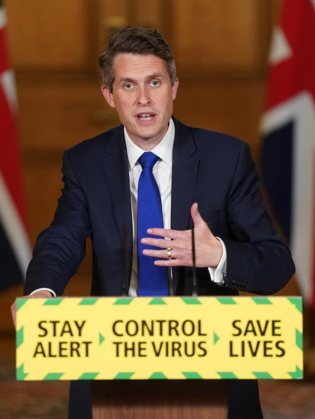 Message - Education Secretary Gavin Williamson         Picture: PAHandout photo issued by 10 Downing Street of Secretary of State for Education Gavin Williamson during a media briefing in Downing Street, London, on coronavirus (COVID-19). PA Photo. Pi