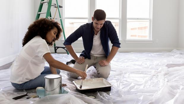 Gazette: Prepping your workspace with a drop cloth or plastic covering is a key part of the process. Credit: Getty Images / SDI Productions