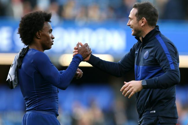 Frank Lampard, right, wants Willian to stay at Chelsea