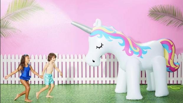 Gazette: This unicorn sprinkler looms above kids, but it's a good size for adults, too. Credit: Sun Squad