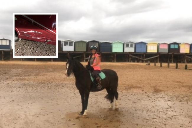 Kim Bedford-Straw and inset: damage to the horsebox