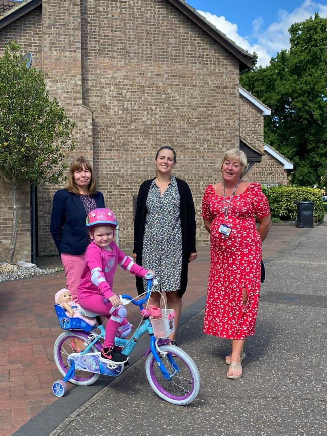Outside Wentworth Primary School, Mia Newman in front, with deputy head Mrs Waller, Foundation teacher Mrs Bryan and head teacher Mrs Dack (l-r)