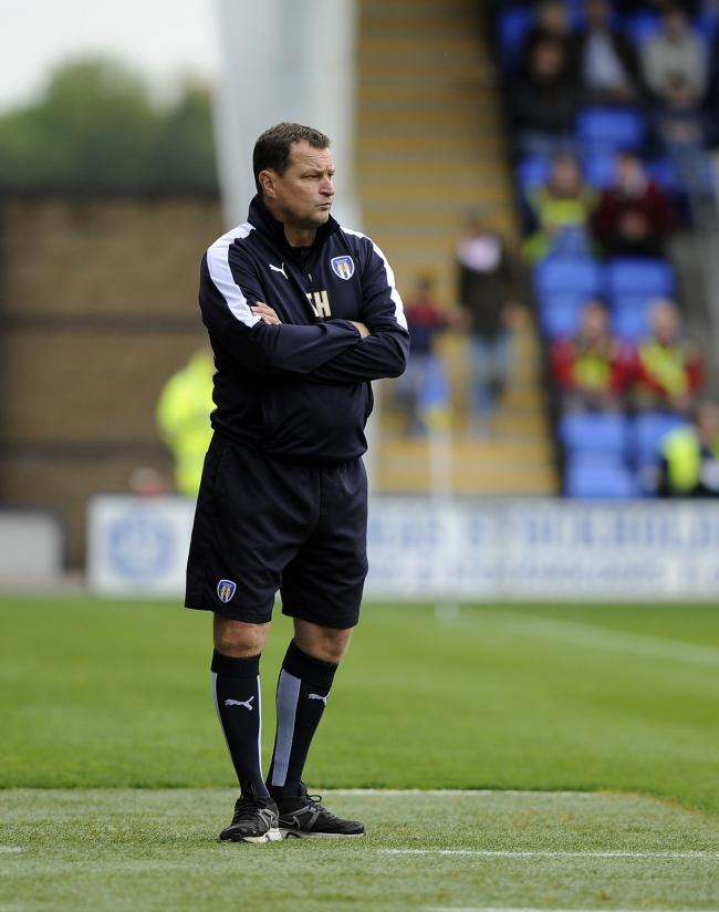 Colchester Manager Tony Humes watches as his team throw away a two goal lead at Shrewsbury during a dismal second half