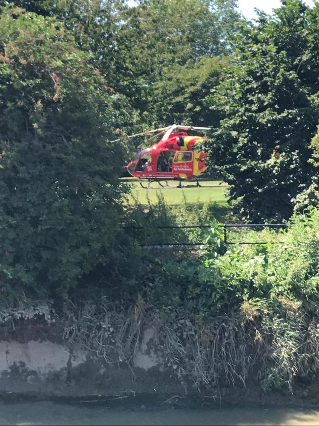 Tragic - the air ambulance landed in East Hill, Colchester