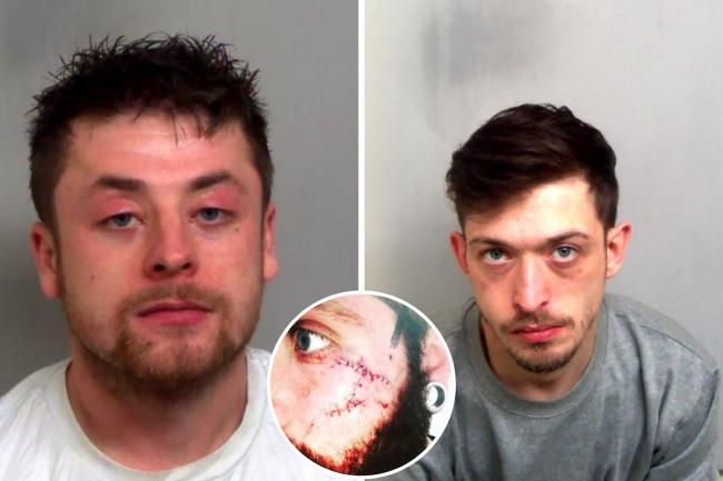 Darryl Rolfe and Rhys Welham and (inset) the victim's injuries