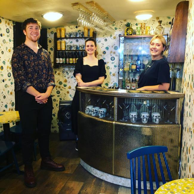The Made & Found team with the new vintage bar at the shop