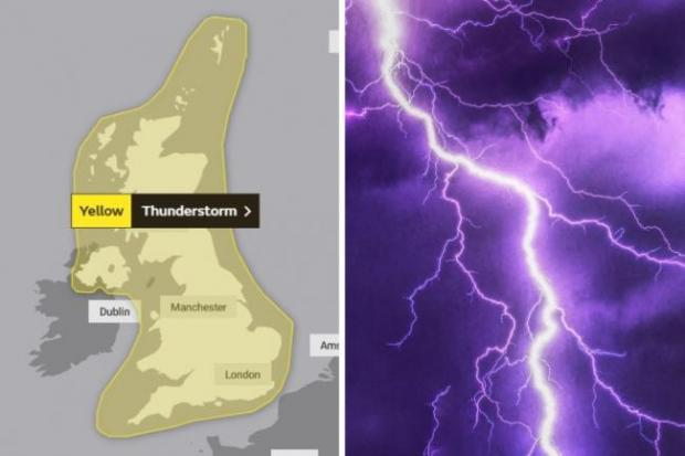 Gazette: The Met Office said the south east would experience thunderstorms between Wednesday and Thursday