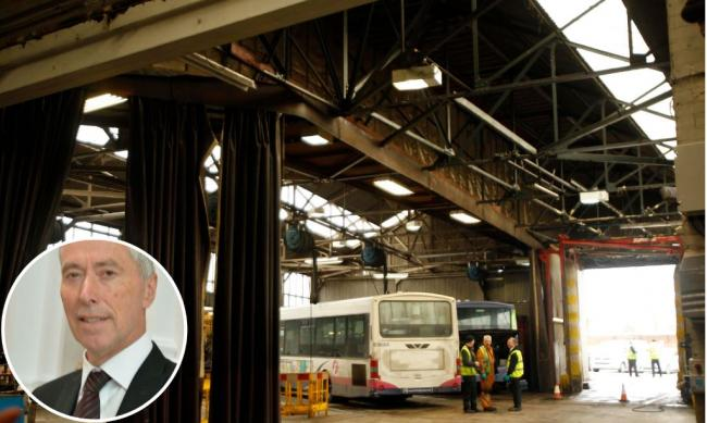 The bus depot and (inset) David King