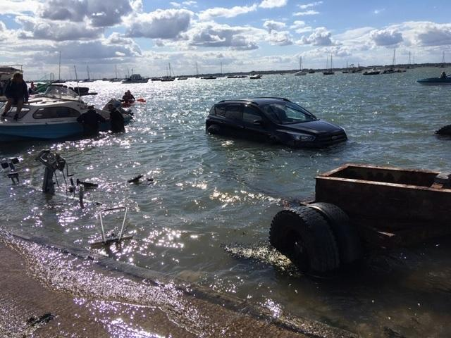 Floating - a car went into the water in West Mersea on Saturday  PICTURE: Michael Summer