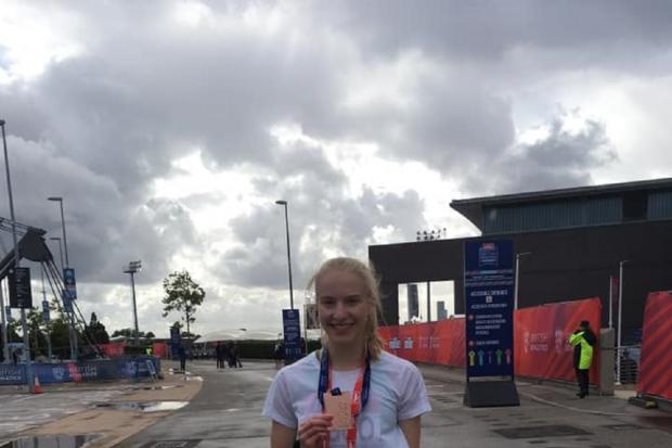 Success - Colchester Harriers' Rebecca Jeggo with her bronze medal at the British Championships