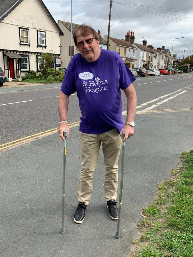 Effort - Adrian Rowley defied his MS to walk five miles between Stanway and the Kings Arms pub in Broad Green