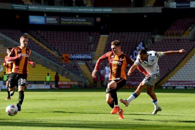 Shoot out - Colchester United's Luke Gambin fires in a shot against Bradford City Picture: RICHARD BLAXALL