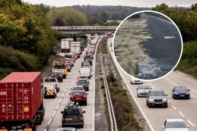 Closed - an oil spillage closed the A12 for six hours on Friday