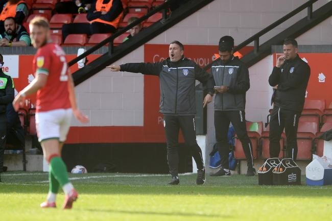 Making a point - Colchester United boss Steve Ball on the touchline at Walsall Picture: RICHARD BLAXALL
