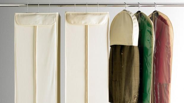 Gazette: Delicate items should be hung up in garment bags. Credit: The Container Store