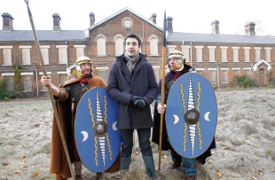 TV exposure – presenter Joe Crowley on location with legionaries Zane and Gus Green