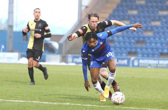 Hot shot - Colchester United's Jevani Brown in action against Marine in the FA Cup Picture: STEVE BRADING