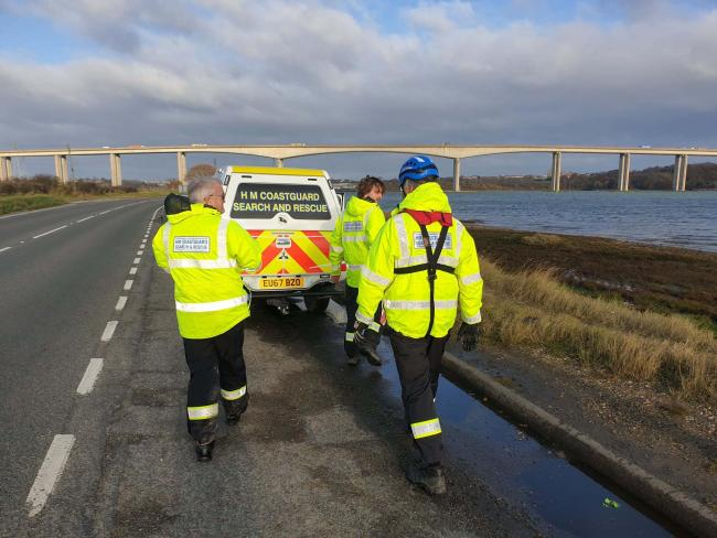 Resuce - the volunteers at the scene of the incident. Picture: Holbrook Coastguard Rescue Team