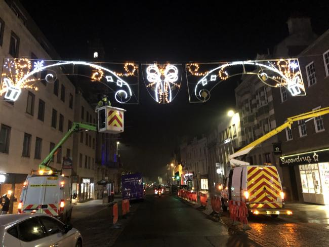 The new present themed Christmas lights going up across Colchester. Picture: Gala Lights Ltd