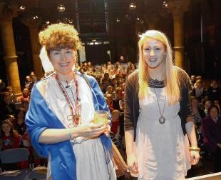 Caroline Lawrence with Colchester actress Millie Binks at their talk on Roman life