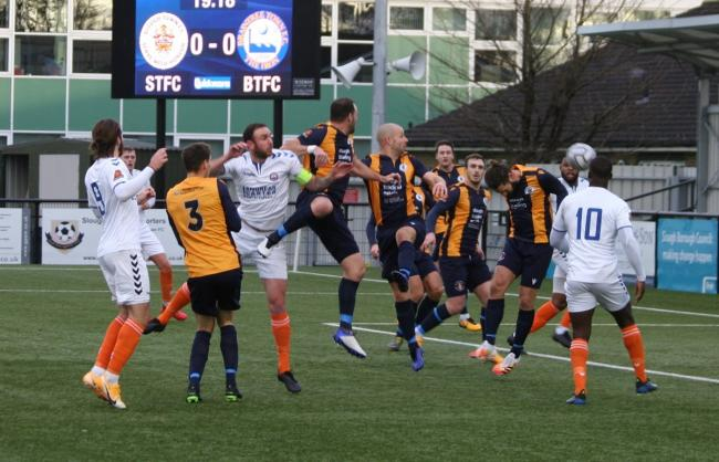 Flashback: action from Braintree Town's game at Slough Town, in January. Picture: JON WEAVER